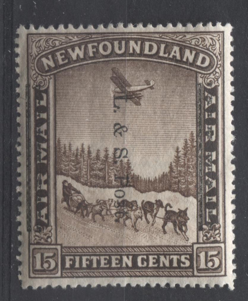 Newfoundland #211iii (SG#229) 15c Deep Yellowish Sepia 1933 L&S Post Overprint Perf. 14.1 VF-80 OG Brixton Chrome