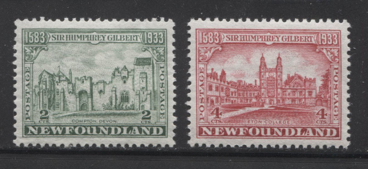 Newfoundland #213, 215 2c Green and 4c Carmine Red Compton and Eton College, 1933 Sir Humphrey Gilbert Issue, Very Fine Mint NH Examples, Comb Perf. 13.4 x 13.6 Brixton Chrome