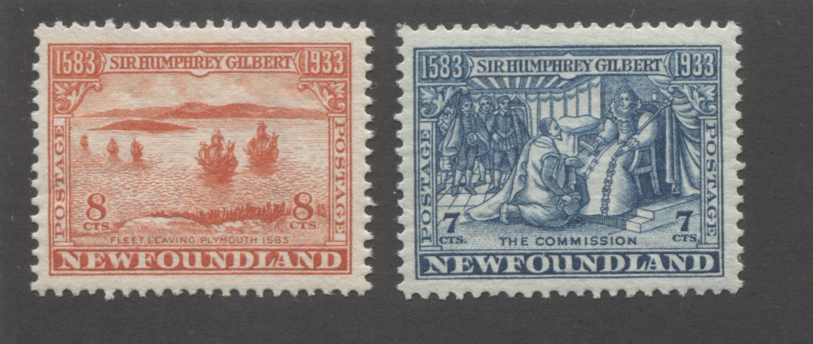 Newfoundland #217-218 8c Deep Orange Red and 7c Prussian Blue Fleet Leaving Plymouth & The Commission, 1933 Sir Humphrey Gilbert Issue Very Fine Mint OG Singles, Comb Perf. 13.5 x 13.6 and 13.5 Brixton Chrome
