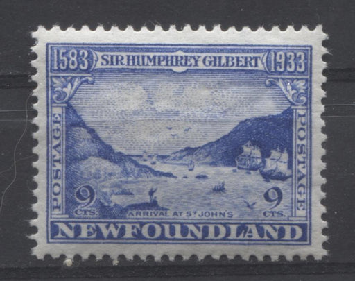 Newfoundland #219 (SG#243) 9c Deep Ultramarine 1933 Sir Humphrey Gilbert Issue VF-80 OG Brixton Chrome