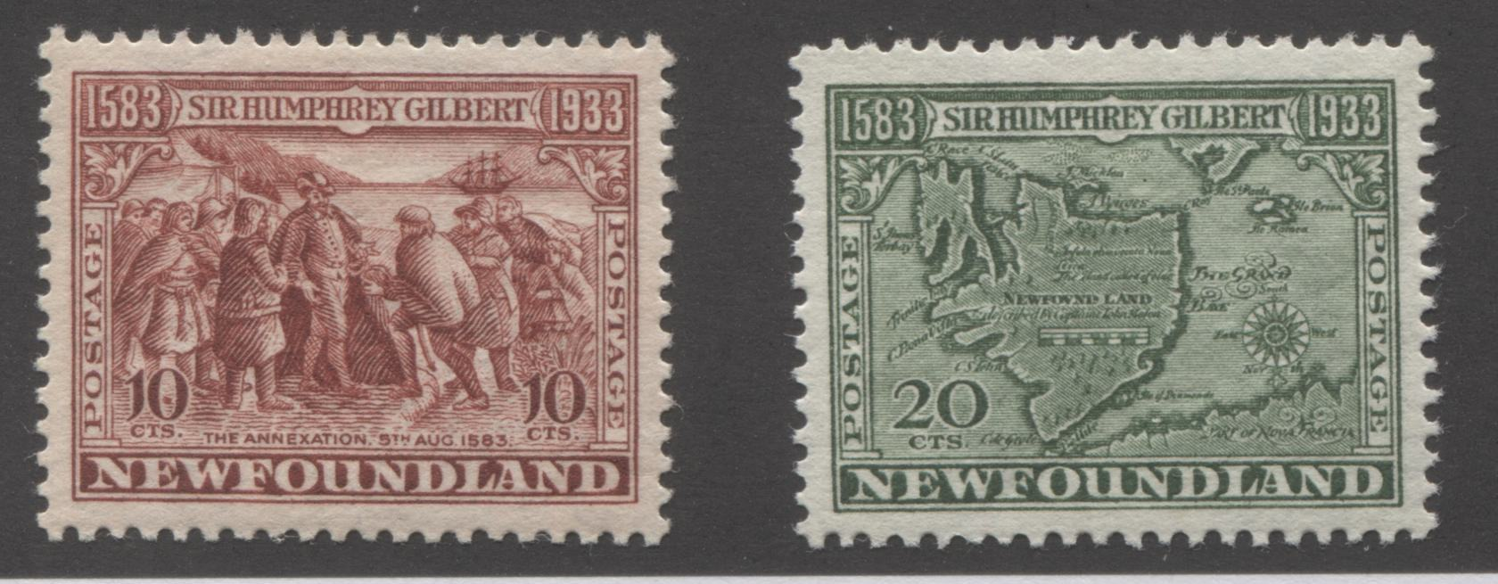 Newfoundland #220, 223 10c Red Brown and 20c Bronze Green The Annexation & Map of Newfoundland, 1933 Sir Humphrey Gilbert Issue, Very Fine Mint OG Examples of the Comb Perf. 13.4 x 13.5 Brixton Chrome