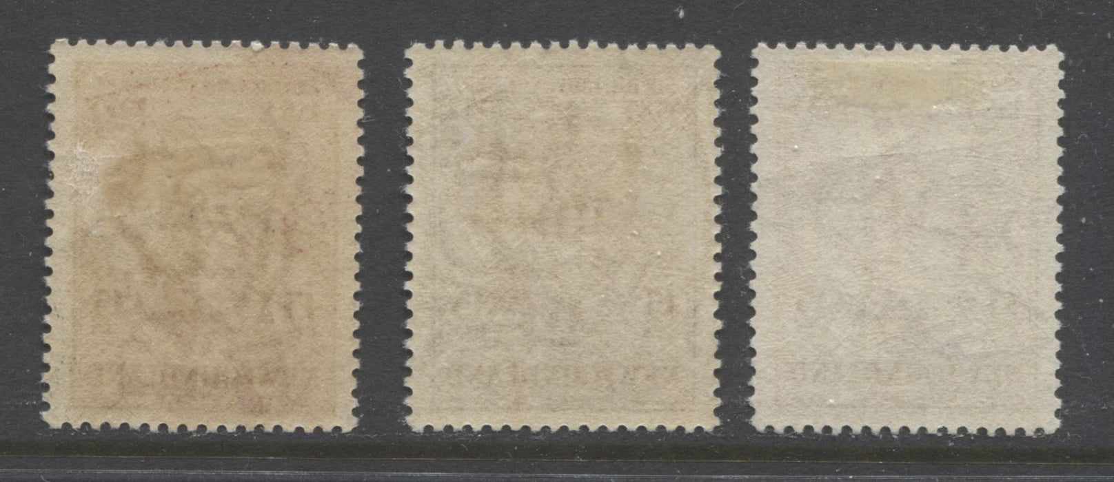 "Newfoundland #222-222i 1933 Sir Humphrey Gilbert Issue, Specialty Group of 3 of the 15c Claret ""Gilbert on the Squirrel"" Showing Different Perforations, Shades and Inverted Watermarks Brixton Chrome"