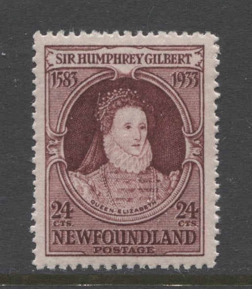 Newfoundland #224ii (SG#248w) 24c Deep Brown Purple 1933 Sir Humphrey Gilbert Issue Watermark Inverted VF-80 LH Brixton Chrome