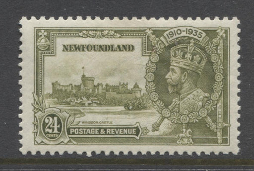 Newfoundland #229 (SG#253) 24c Deep Yellow Olive 1935 Silver Jubilee VF-80 OG Brixton Chrome