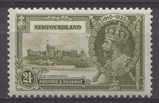 Newfoundland #229 (SG#253) 24c Deep Yellow Olive 1935 Silver Jubilee XF-94 LH Brixton Chrome