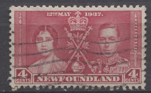 Newfoundland #231 (SG#255) 4c Rose Red 1937 Coronation Issue VF-75 Used Brixton Chrome