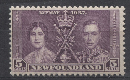 Newfoundland #232 (SG#256) 5c Deep Reddish Violet 1937 Coronation Issue F-70 NH Brixton Chrome