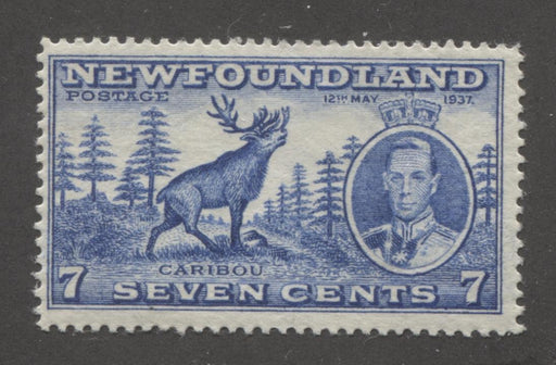 Newfoundland #235 (SG#259) 7c Deep Dull Blue 1937 Long Coronation Perf. 14.25 F-70 OG Brixton Chrome