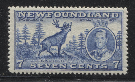 Newfoundland #235 (SG#259c) 7c Deep Dull Blue 1937 Long Coronation Perf. 13.8 VF-80 OG Brixton Chrome