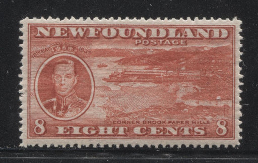Newfoundland #236 (SG#260) 8c Deep Brownish Scarlet 1937 Long Coronation Perf. 14.25 VF-75 OG Brixton Chrome