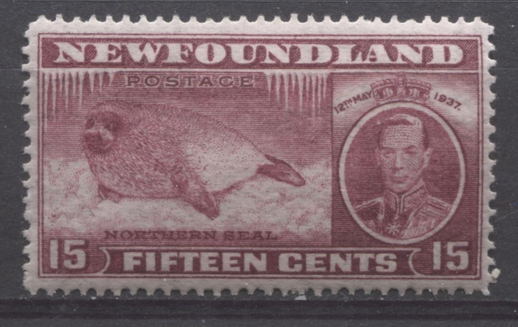 Newfoundland #239 (SG#263c) 15c Brown Purple 1937 Long Coronation Perf. 13.9 VF-84 OG Brixton Chrome