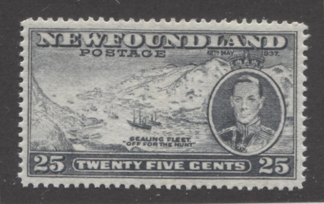 Newfoundland #242 1937 Long Coronation, 25c Deep Slate Grey Sealing Fleet, Perf. 13.8 x 13.9, A Very Fine Mint NH Example Brixton Chrome