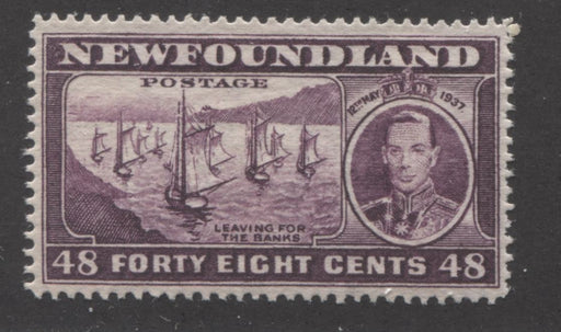Newfoundland #243 (SG#267) 48c Deep Purple 1937 Long Coronation Issue Perf. 14.25, a VFNH Example Brixton Chrome