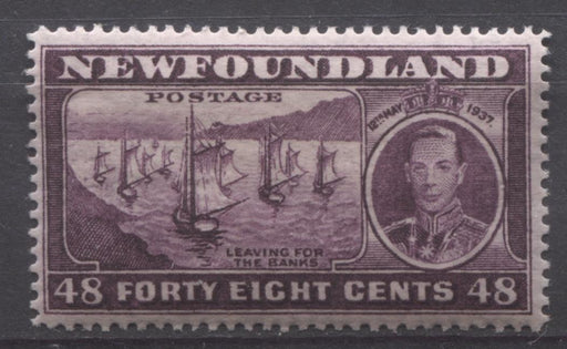 Newfoundland #243 (SG#267) 48c Deep Purple 1937 Long Coronation Issue Perf. 14.25 VF-75 OG Brixton Chrome