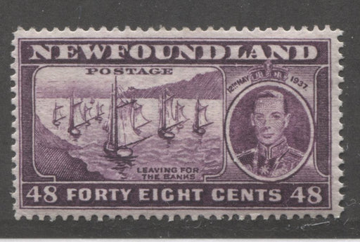 Newfoundland #243i 48c Plum Leaving for the Banks, 1937 Long Coronation Issue, Very Fine Mint, Perf. 13.8 With Pos. 60 Re-Entry Brixton Chrome