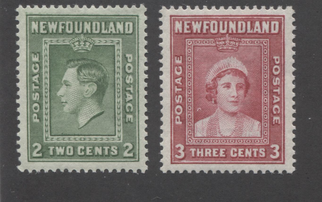 Newfoundland #245-246 2c Green and 3c Carmine Rose King George VI and Queen Elizabeth, 1938 Royal Family Issue Very Fine Mint NH, Comb Perf. 13.5 x 13.4 and 13.5 Brixton Chrome