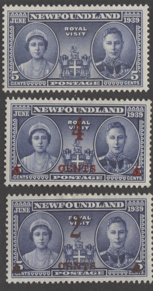 Newfoundland #249-252 1939 Royal Visit, Surcharges and 1941 Grenfell, Very Fine Mint OG Singles of Each Brixton Chrome