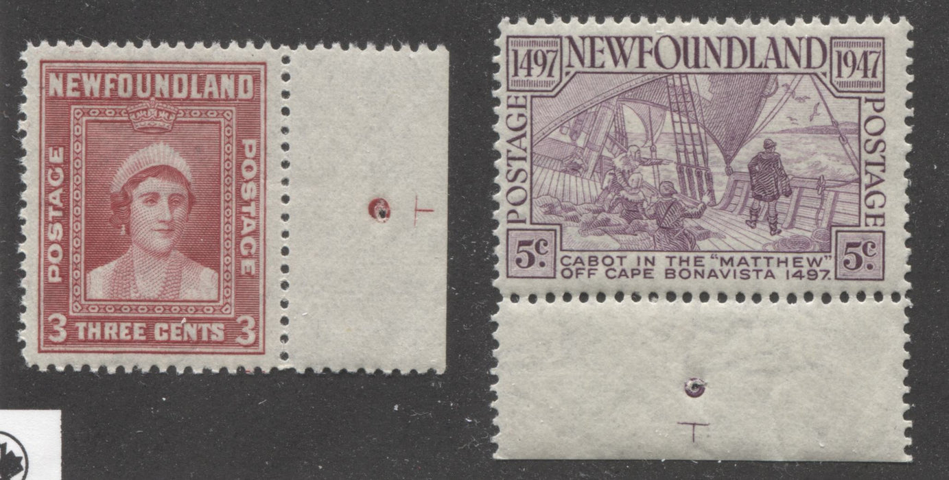 "Newfoundland #255, 270 3c Carmine Red Queen Elizabeth and 5c Rose Violet John Cabot, Very Fine NH Sheet Margin Examples Showing ""T"" Guide Markings Brixton Chrome"