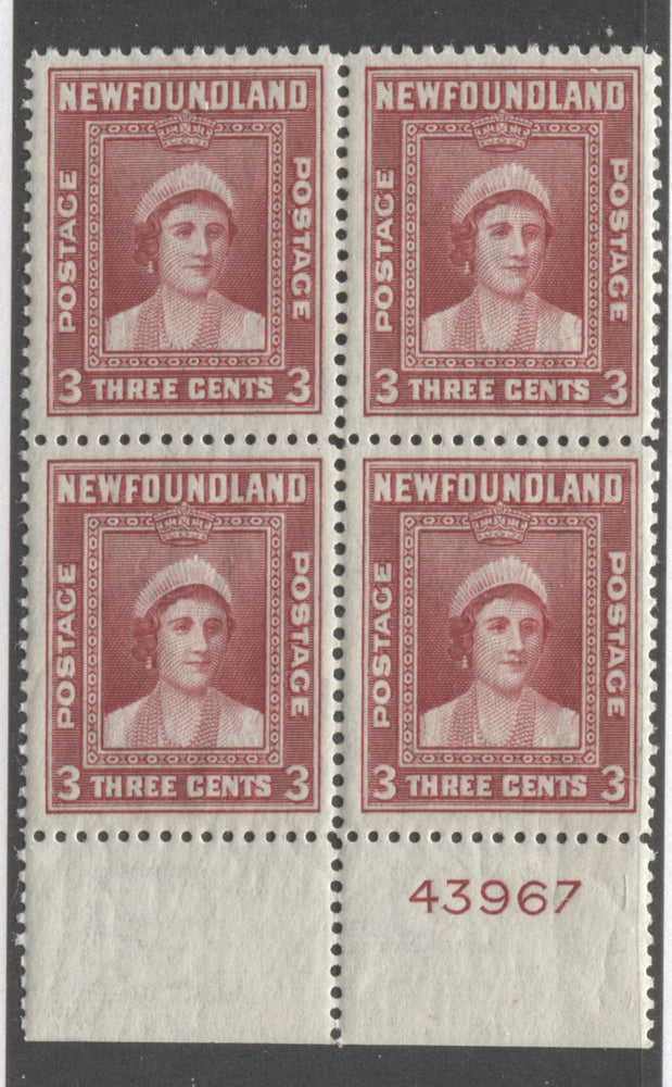 Newfoundland #255 3c Carmine Queen Elizabeth, 1941-1942 Second Resources Issue, A Very Fine NH Plate 43967 Block of 4, Perf. 12.6 Brixton Chrome