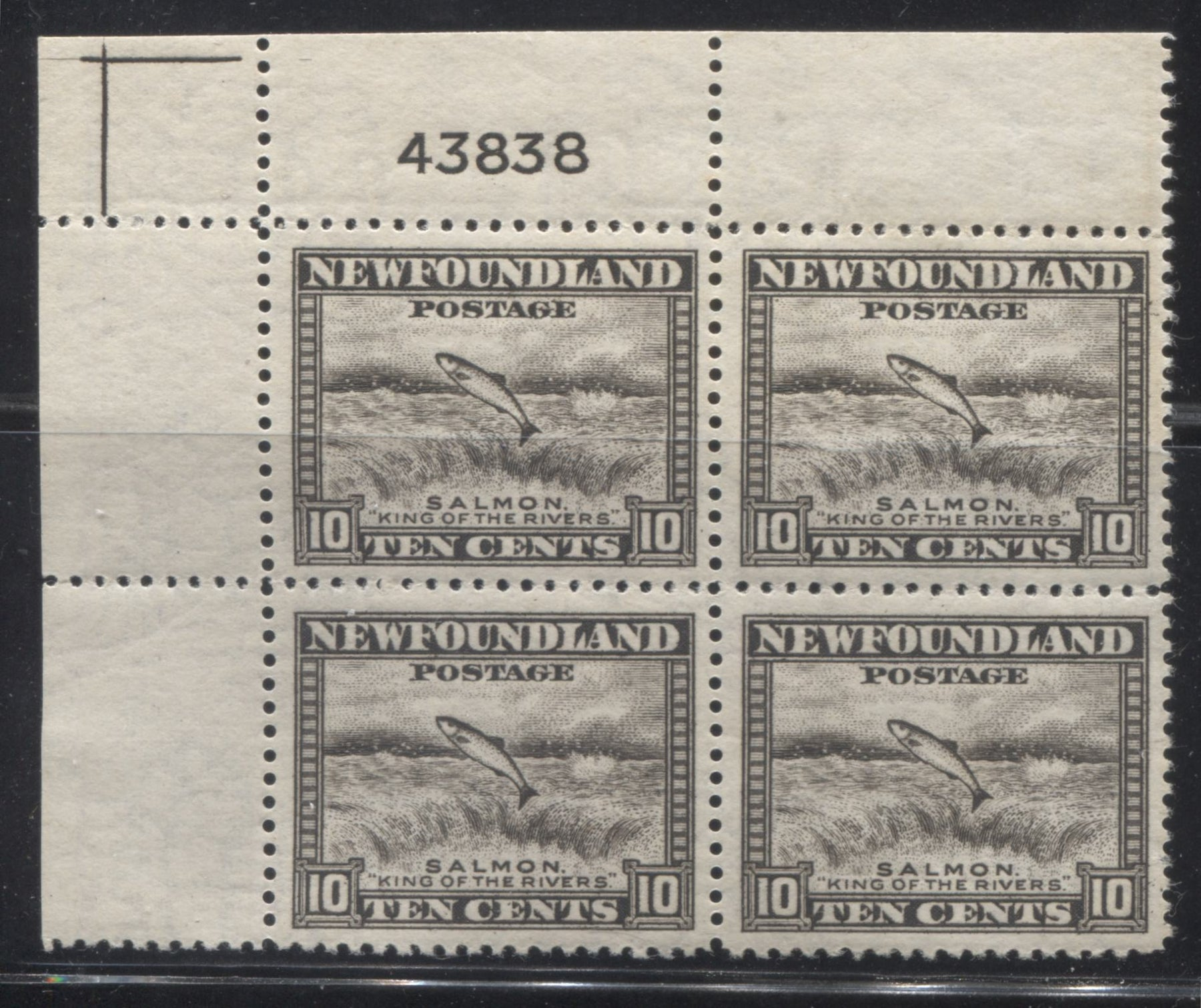 Newfoundland #260 10c Agate Salmon Leaping Falls, 1941-1949 Second Resources Issue, A Very Fine NH Upper Left Plate 43838 Block Brixton Chrome