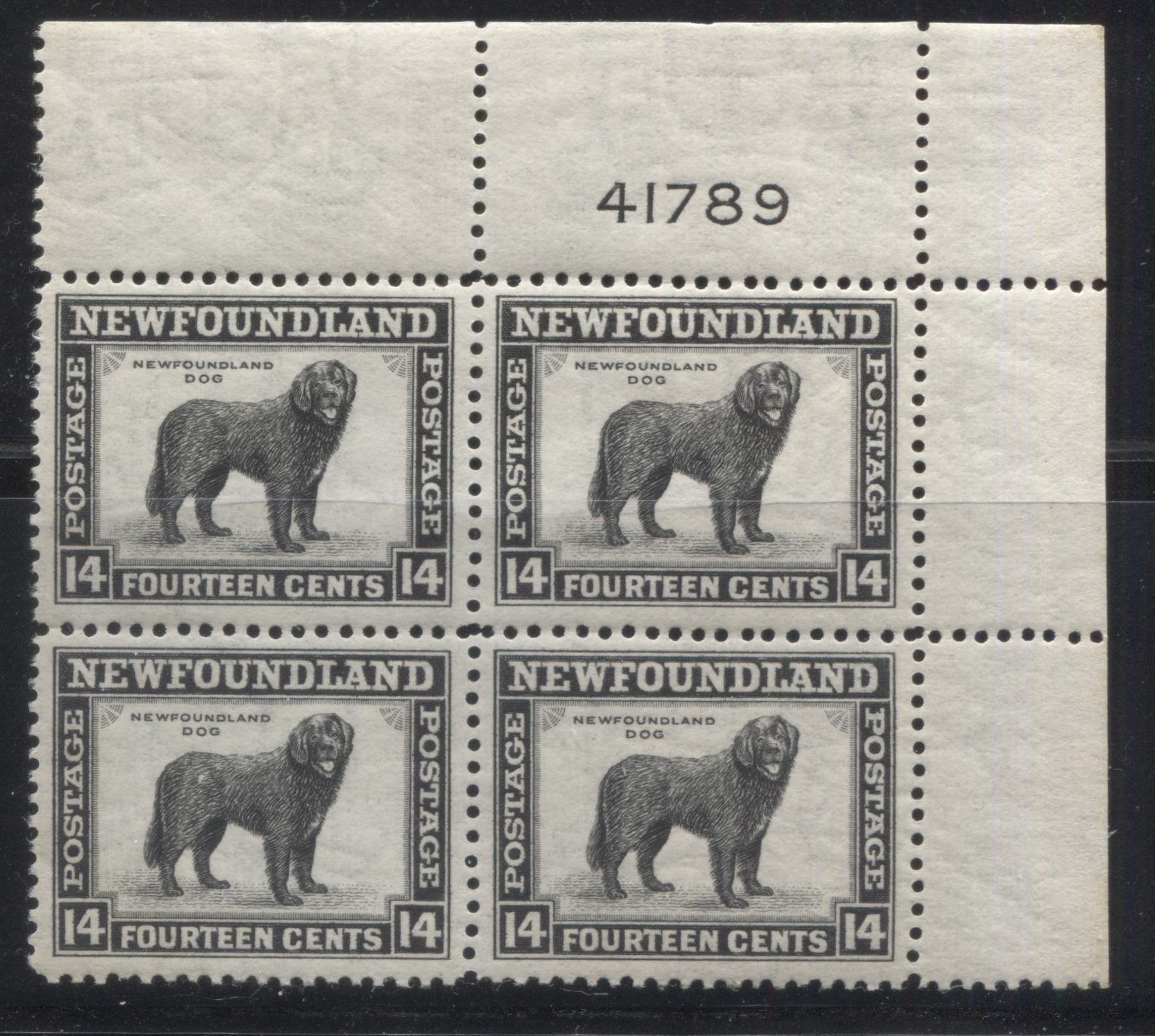 Newfoundland #261 14c Black Newfoundland Dog, 1941-1949 Second Resources Issue, A Very Fine NH Upper Right Plate 41789 Block Brixton Chrome