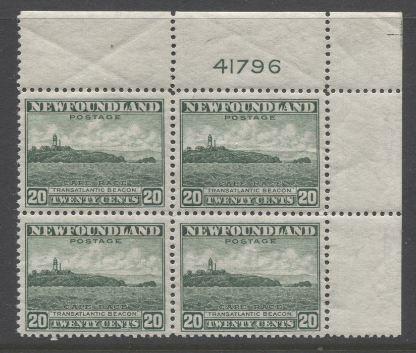 Newfoundland #263 (SG#286) 20c Deep Bright Green 1941 Resources Issue A VFNH Upper Right Plate 41796 Block of 4 Brixton Chrome