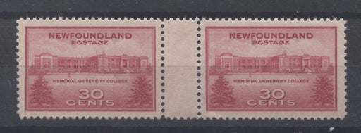 Newfoundland #267i (SG#290var) 1943 University of St. John's Issue Gutter Pair VF-79 NH Brixton Chrome