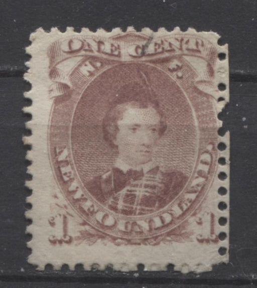 Newfoundland #32A (SG#35) 1c Brown Lilac 1871 Second Cents Issue Perf. 12 Thick Paper G-45 Used Brixton Chrome