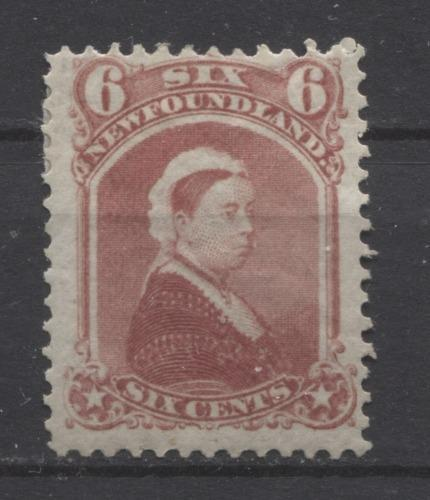 Newfoundland #35 (SG#39) 6c Rose Queen Victoria 1868-94 Cents Issue F-65 OG Brixton Chrome