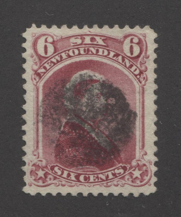 Newfoundland #36 6c Carmine Lake Queen Victoria, 1868-1894 Second Cents Issue A Very Fine Used Example With Dumb Cork Cancel on Horizontal Wove Paper Brixton Chrome