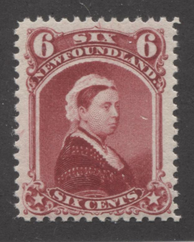 Newfoundland #36 6c Carmine Lake Queen Victoria 1868-94 Cents Issue, A Very Fine NH Example Brixton Chrome