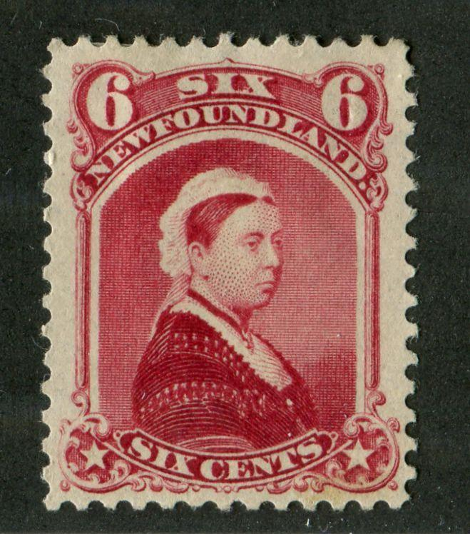 Newfoundland #36 (SG#60) 6c Carmine Lake Queen Victoria 1868-94 Cents Issue VF-84 OG HR Brixton Chrome