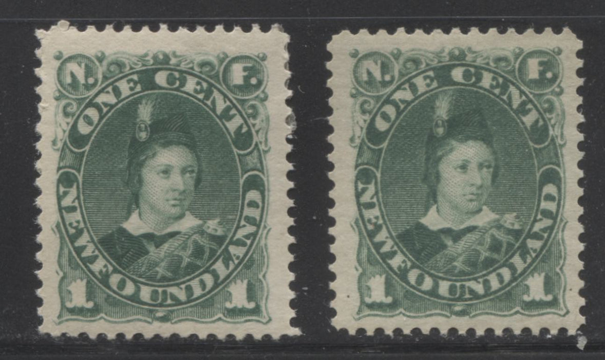 Newfoundland #44 1c Deep Bluish Green Prince of Wales, 1880-1896 Third Cents Issue Fine Mint OG Example of the Second Ottawa Printing on Soft Horizontal Wove, Perf. 12.1 x 12 Brixton Chrome