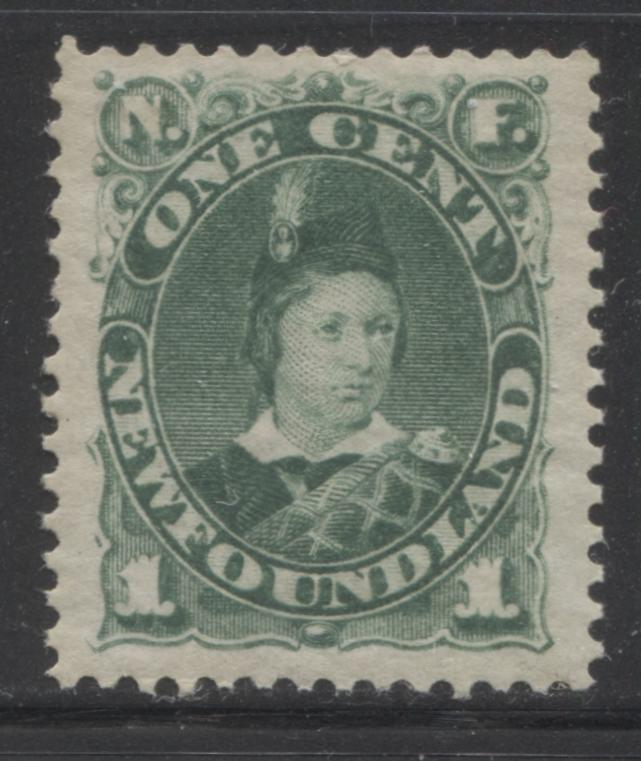 Newfoundland #45 1c Green Prince of Wales, 1880-1896 Third Cents Issue Very Fine Mint OG Example of the Second Ottawa Printing on Soft Horizontal Wove, Perf. 12 Brixton Chrome