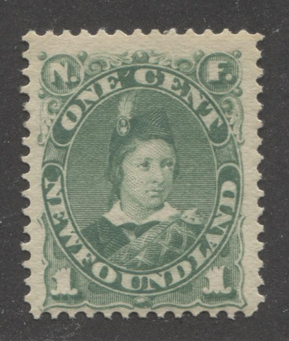 Newfoundland #45a 1c Yellow Green Prince of Wales, 1880-1896 Third Cents Issue, A Fine Mint Example, Perf. 12.25 x 12 Brixton Chrome