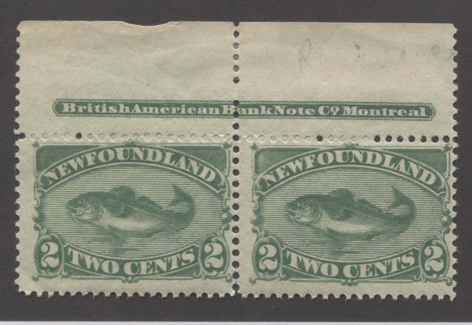 Newfoundland #47 2c Deep Green Codfish, 1880-1896 Third Cents Issue A Fine Mint NH Top Margin Inscription Pair, Perf. 12.25 x 12 Brixton Chrome
