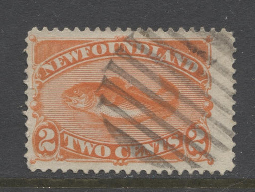 Newfoundland #48b (SG#51) 2c Orange 1888 Cents Issue Vertical Wove Paper F-65 Used Brixton Chrome
