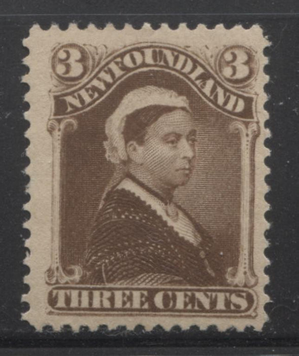 Newfoundland #51 3c Umber Brown Queen Victoria, 1880-1896 Third Cents Issue, Fine Mint OG Example of the Late Montreal Printing on Vertical Wove Paper, Perf. 12.1 Brixton Chrome