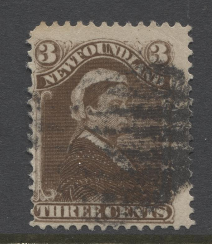 Newfoundland #51 (SG#52) 3c Umber Brown 1887 Cents Issue Vertical Wove G-50 Used Brixton Chrome