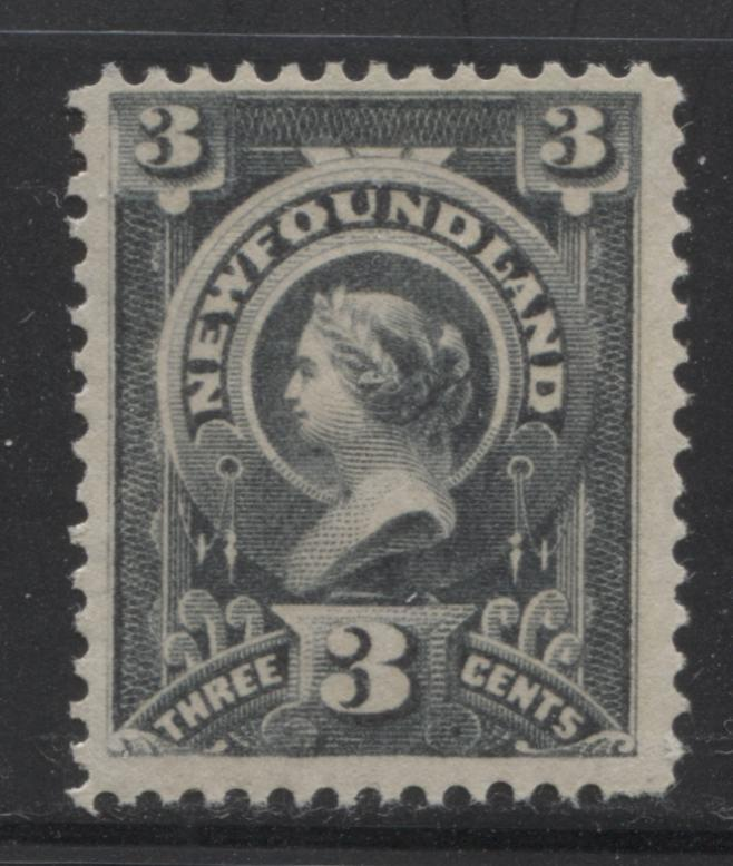 Newfoundland #60 3c Deep Greenish Slate Queen Victoria, 1880-1896 Third Cents Issue, Fine Mint OG Example on Vertical Wove, Perf. 12 x 12.1 Brixton Chrome