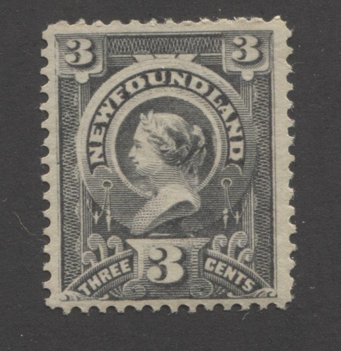 Newfoundland #60d 3c Grey Violet Queen Victoria, 1880-1896 Third Cents Issue A Fine Mint OG Example on Horizontal Wove Paper With Deep Yellow Gum Brixton Chrome