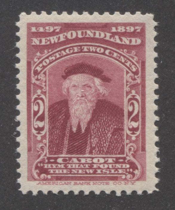 Newfoundland #62 2c Carmine Lake John Cabot, 1897 John Cabot Issue, A Very Fine NH Example Brixton Chrome