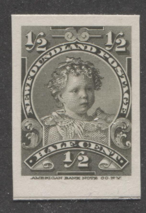 Newfoundland #78P 1/2c Olive King Edward VIII as a Baby, 1898-1908 Royal Family Issue, A Very Fine Example of the Plate Proof on Card Brixton Chrome