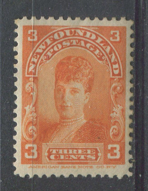 Newfoundland #83 (SG#88) 3c Deep Red Orange Alexandra 1897-1901 Royal Family VF-75 OG HR Brixton Chrome