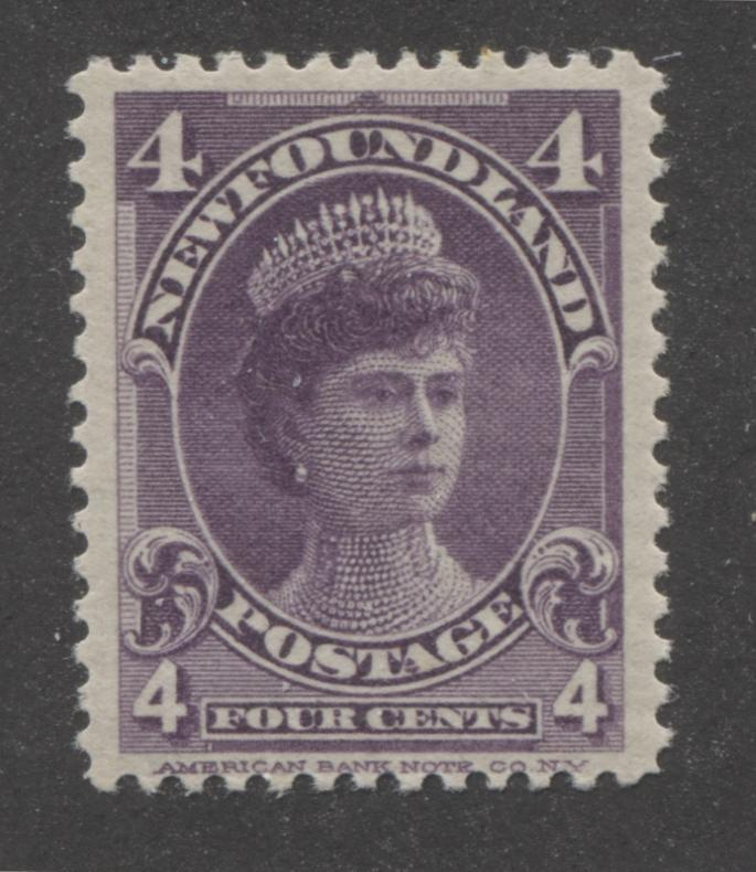 Newfoundland #84 4c Violet Royal Family Issue, Very Fine Mint on Greyish Horizontal Wove Paper With Shiny Gum Brixton Chrome