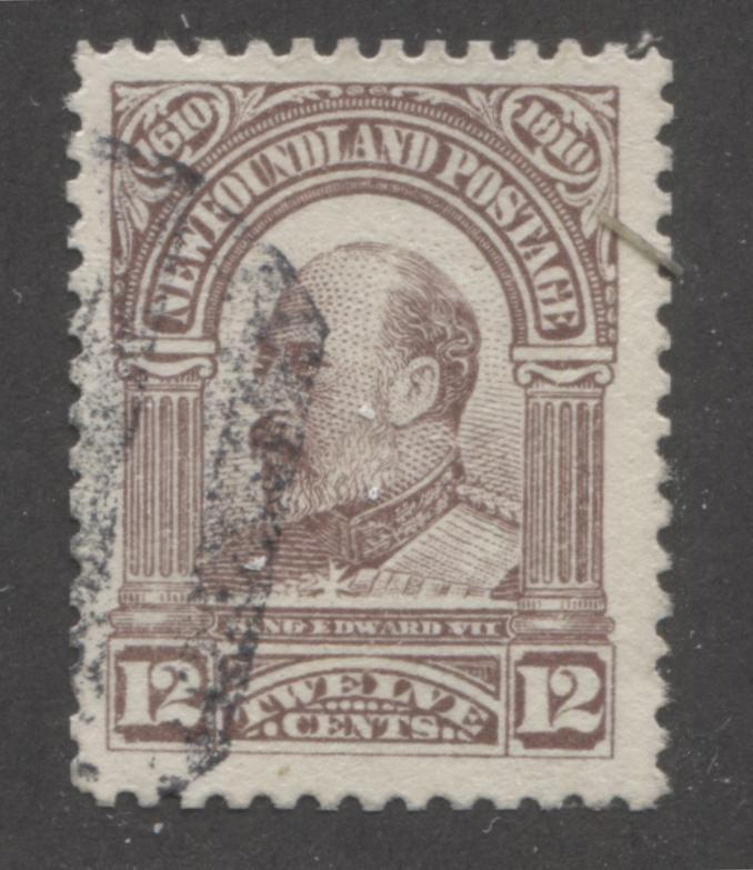 Newfoundland #96 12c Lilac King Edward VII 1910 John Guy Issue, A Fine Used Example, Scarce as Only 15,000 Issued Brixton Chrome