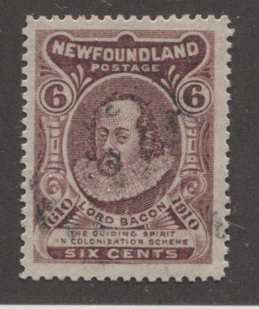 Newfoundland #98 6c Deep Claret Lord Bacon,1911 John Guy Issue, A Very Fine Used Example, Line Perf. 14.25 Brixton Chrome