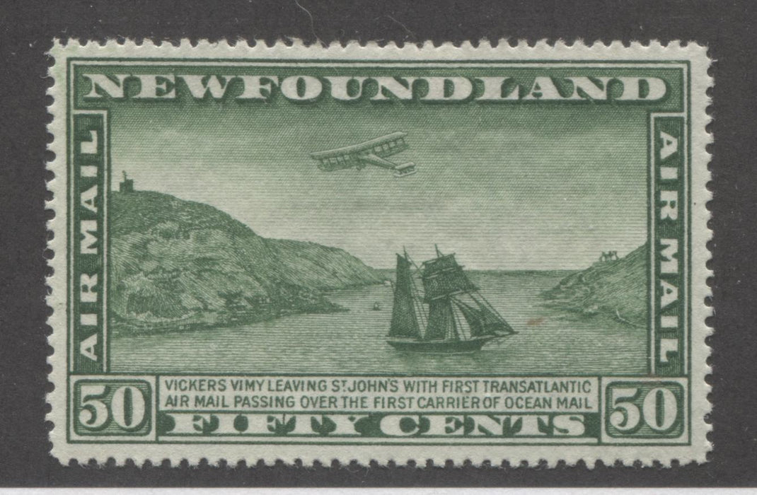 Newfoundland #C10 50c Green Airplane and Packet Ship, 1931 Watermarked Airmail Issue, A Very Fine Mint Example Brixton Chrome
