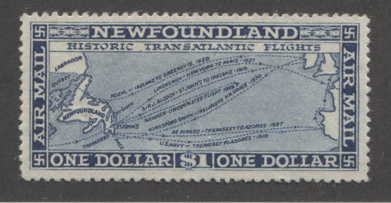 Newfoundland #C11 $1 Blue 1931 Watermarked Airmail Issue, Line Perf. 14.3, Very Fine Mint OG Brixton Chrome