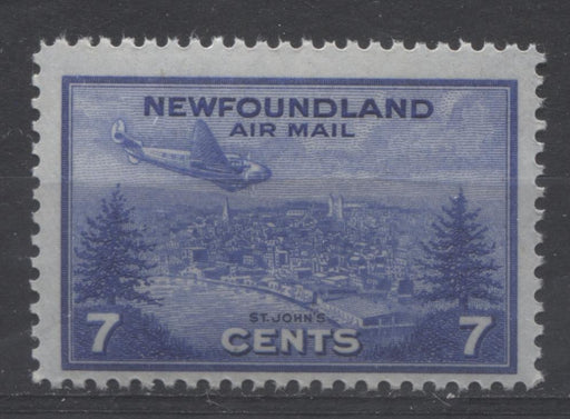 Newfoundland #C19 (SG#291) 7c Deep Ultramarine 1943 St. John's Airmail Issue F-70 NH Brixton Chrome